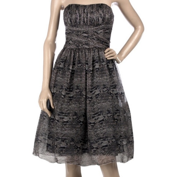 394b87300d9 Anna Sui strapless evening gown prom python print